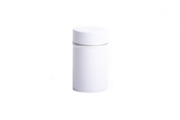Runde Teedose - Kräuterdose weiß