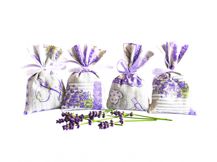 Lavendelsäckchen grau - handgenäht 4 Stück