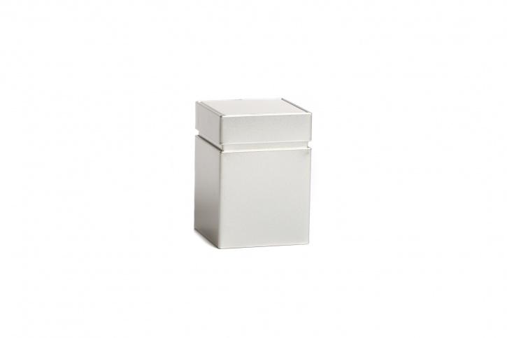Quadratische Teedose - Kräuterdose silber